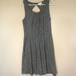 Loft Gray Cotton Sleeveless Dress Medium